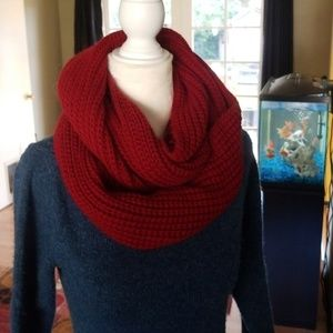 Accessories - Wine Colored Knit Infinity Scarf